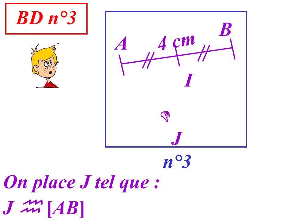 BD n°3 B 4 cm A I  J n°3 On place J tel que : J  [AB]